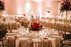 glamorous wedding with gold and burgundy colors