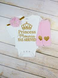 princess has arrived newborn personalized baby gold