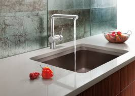 Modern Kitchen Faucet solid white glossy countertop of kitchen cabinets with stainless