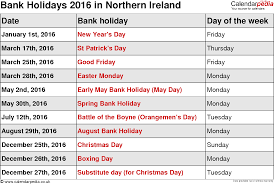 2016 bank holidays