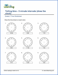 grade 2 telling time worksheet on telling time 5 minute