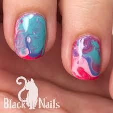 beautiful blue water marble nail art