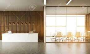 Concrete Reception Desk Office Interior Reception Desk And Meeting Room In New York