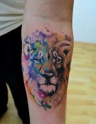 wonderful watercolor lion tattoo on chest tattoos pinterest