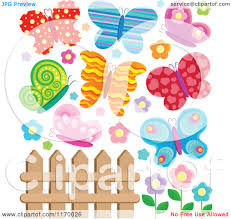 cartoon of a fence with colorful butterflies and flowers royalty