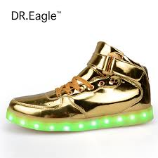 light up shoes gold high top dr eagle men women high top usb charging led light lovers shoes