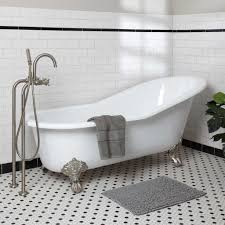 interior bathroom decoration with clawfoot tubs and floor mount