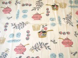 Kitchen Curtain Fabric by Vintage 50s Pink Gray Kitchen Theme Curtain Fabric 50 Gray And