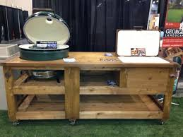 kamado joe grill table plans grill cabinet w yeti cooler drawer custom built for big green egg