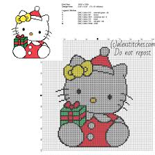 hello kitty with christmas present free cross stitch pattern size