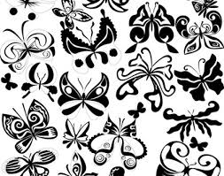black and white butterfly element vector misc