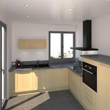cuisine grise plan de travail noir cuisine en l classique décor bois finition verni plan de travail
