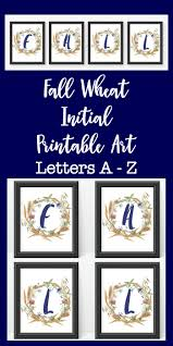 fall wheat initial printable art autumn themed printable letters