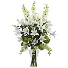 Artificial Lilies In Vase Nearly Natural Lily Delphinium And Hydrangea Silk Arrangement