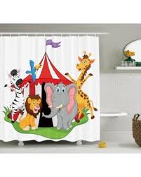 slash prices on circus decor shower curtain set trained performer