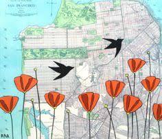 san francisco map painting bernal heights san francisco city map print sucka free city