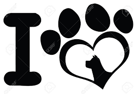 black claws i with black heart paw print with claws and dog