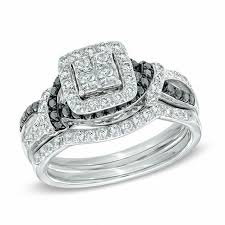 black diamond bridal set 1 ct t w princess cut enhanced black and white diamond