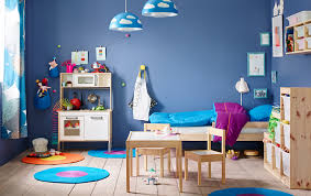kids bedroom ideas kids room blue color paint with white and wood color furniture