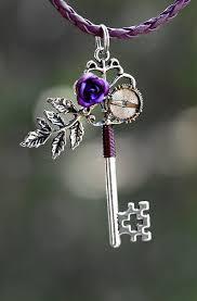 rose key necklace images Purple rose key necklace purple roses key necklace and key jpg