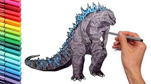 godzilla coloring pages for kids to learn colors draw and color