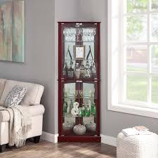 how to arrange a corner china cabinet belleze woody lighted corner curio cabinet tempered glass door 6 shelves cherry walnut