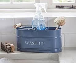 Kitchen Sink Blue Enamel Washing Up Sink Tidy Shabby Chic - Enamel kitchen sink