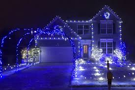 blue christmas lights family house christmas display in wadsworth