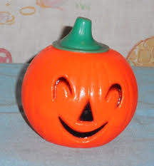 vintage halloween plastic pumpkin jack o lantern candy holder