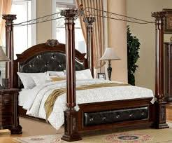Mandalay Brown Cherry Finish Eastern King Size Bed Frame Set - California king size canopy bedroom sets