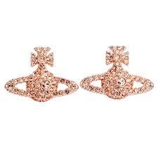 gold stud earrings uk vivienne westwood grace bas relief stud earrings pink gold light