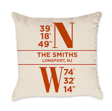 personalized pillow personalized coordinates pillow in orange project cottage