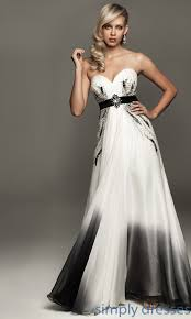 strapless black and white madison james gown formal prom dresses