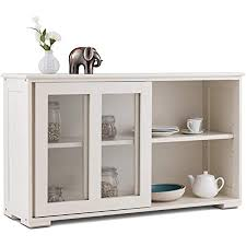 antique white kitchen storage cabinet costzon kitchen storage sideboard antique stackable cabinet for home cupboard buffet dining room white with sliding door window