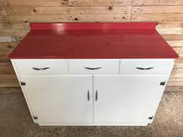 Damaged Kitchen Cabinets For Sale Kitchen Cabinet With Red Melamine Top 1950s For Sale At Pamono