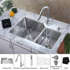 Kitchen Faucets With Soap Dispenser Kraus Khu123 32 Kpf1650 Ksd30ch 32 Inch Undermount Double Bowl