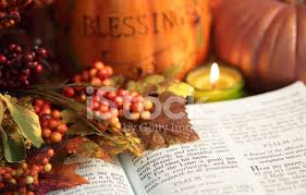 religious thanksgiving bible scripture with pumpkin and berries