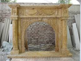 Travertine Fireplace Hearth - hand carved travertine fireplace surround with arch opening