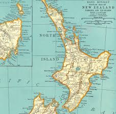 New Zealand Map 1937 Vintage Map Of New Zealand With Tasmania And The Fiji