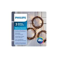 philips set of 3 10 battery operated led brown rattan