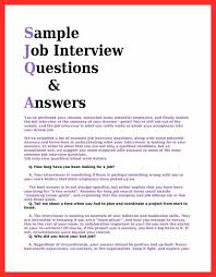 How To Prepare A Resume For Job Interview Sample Job Interview Questions And Answers Cbshow Co