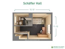 floorplan with dimensions for unit types in schäffer hall