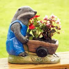 badger with wheelbarrow garden planters