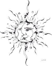 black sun with half moon stencil by miss sw spider