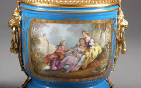 Antique Hand Painted Vases A Pair Of 19th C Sevres Style Hand Painted Vases For Sale