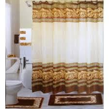 Bathroom Shower Curtain And Rug Set 18 Pc Bath Rug Set Chocolate Leaves Design Bathroom Shower Curtain