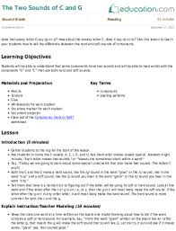 the two sounds of c and g lesson plan education com