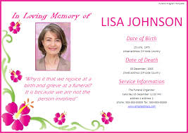 sle funeral program funeral announcement template passionative co