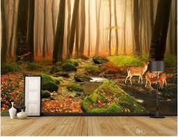 3d room wallpaper custom photo mural virgin forest stream elk home