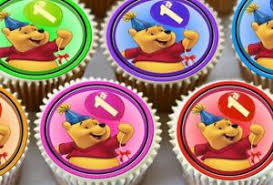24 x winnie the pooh 1st birthday edible cupcake toppers premium